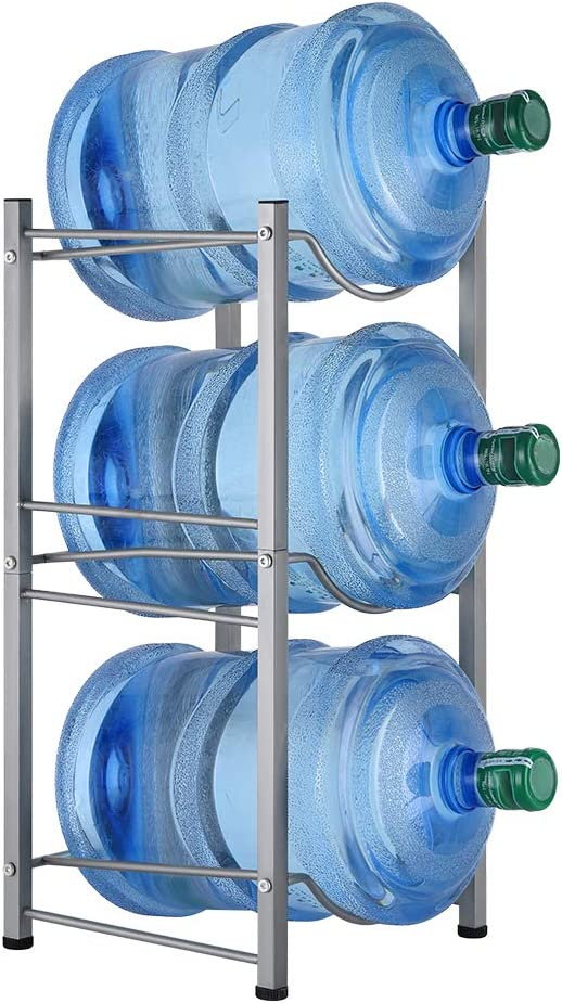 MOOACE 3-Tier Water Cooler Jug Rack, 5 Gallon Detachable Water Bottle Holder for Kitchen, Office, Home, Silver