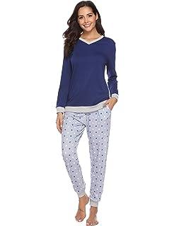 Hawiton Women s Cotton Long Sleeve Pajamas Set Sleepwear Dot Pattern Bottom  Lounge Nightgowns a6e5c5a64