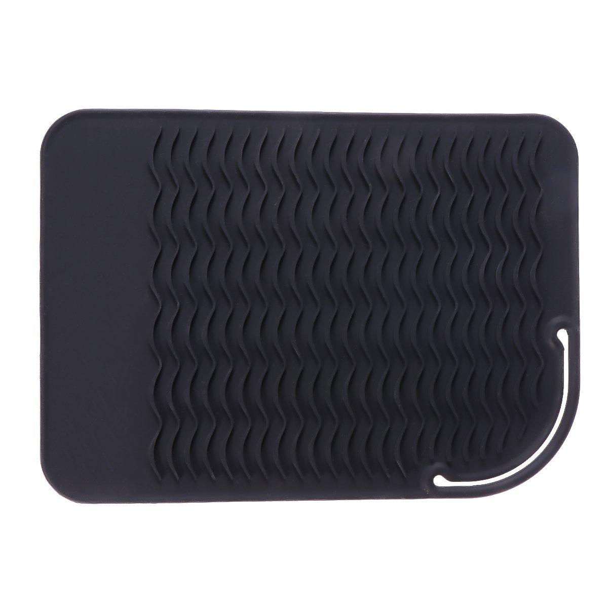 Lurrose Tappetino antiscivolo in silicone resistente al calore, tappetino da viaggio per ferri da stiro bigodino piatto e raddrizzatore (nero)