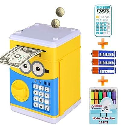 RICISUNG Huchas, Hucha Dinero Bancos, Electrónica Digital Mini ATM Ahorro de Bancos, Cajas
