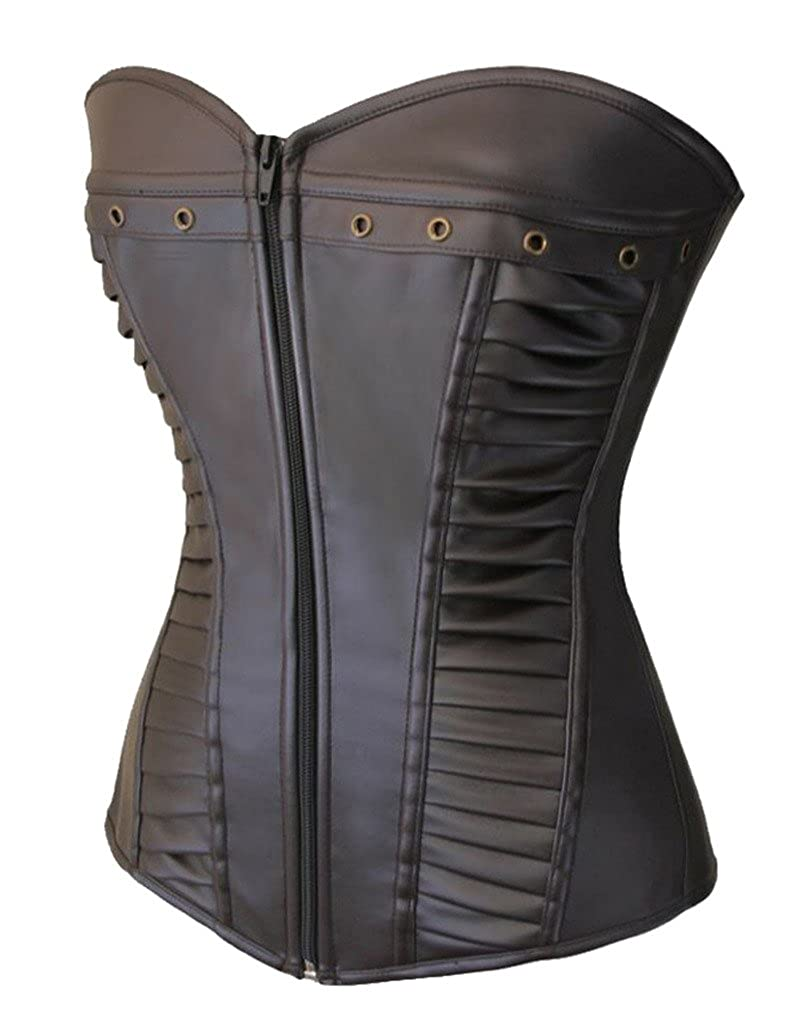 7e6fa9d1fd Lotsyle Women Faux Leather Lace up Zipper Body Shaper Shapewear Overbust  Corset at Amazon Women s Clothing store