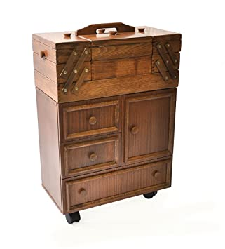 kg big sewing cabinet on rolls beech wood brown colour