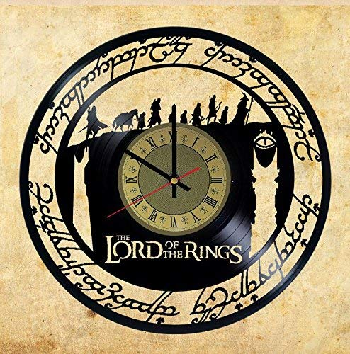 Lord of The Rings Hobbit Vinyl Record Wall Clock Gift idea for Birthday, Christmas, Women, Men, Friends, Girlfriend Boyfriend and Teens - Living Kids Room Nursery