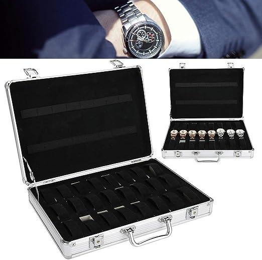 yuyte 32 Rejillas Caja de Almacenamiento de Relojes, Maleta de Reloj de aleación de Aluminio, Estuche de Exhibición de Joyeria: Amazon.es: Hogar