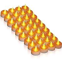 Bougies LED, 36 LED thé bougie CR2032 batterie alimenté bougie sans flamme thé sans flamme lumineux clignotant plus de 100 heures d'éclairage électrique faux bougie maison décorations de Noël cadeau de table de mariage extérieur jaune chaud [classe énergétique A +++] (jaune chaud, 1 × 36)