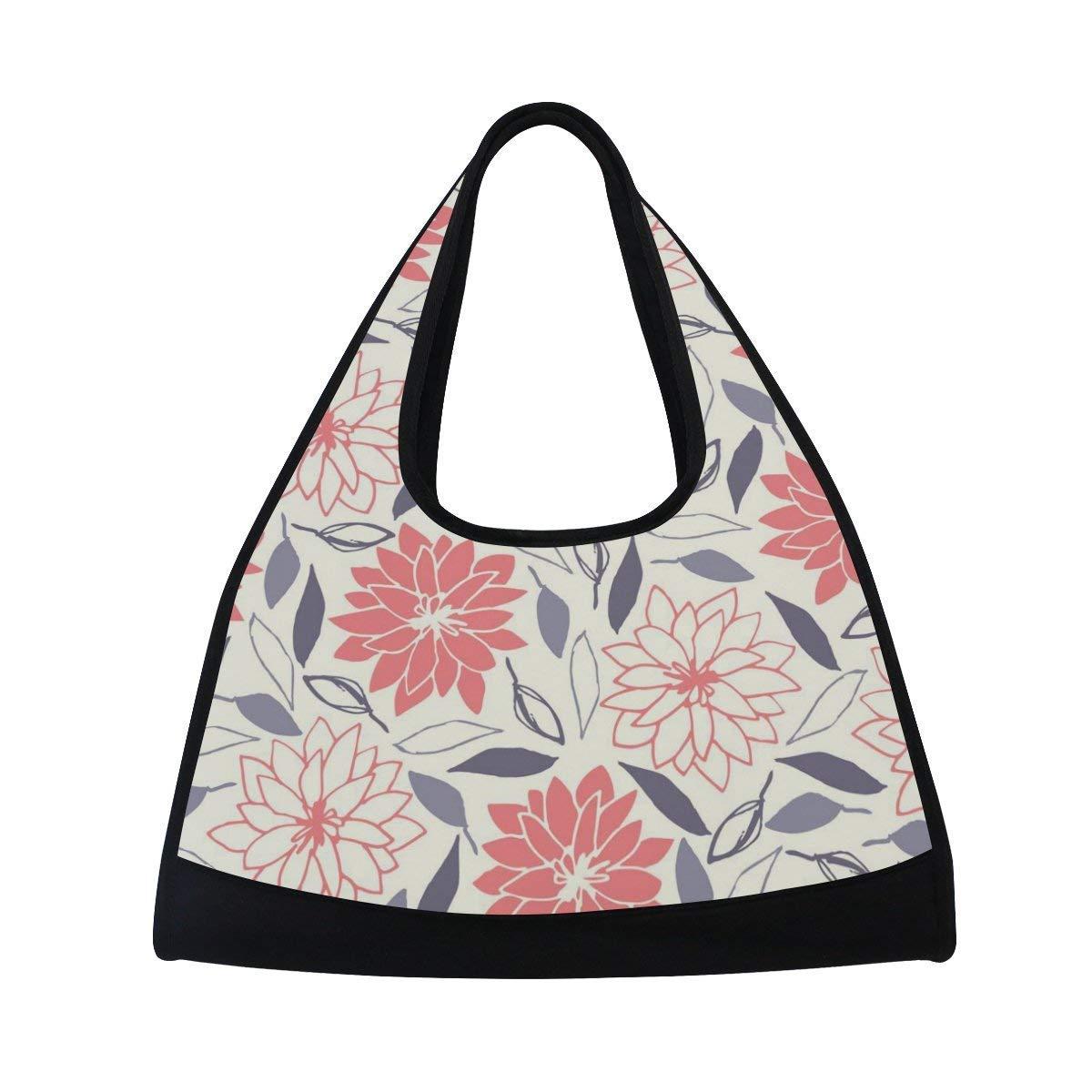 OuLian Sport Gym Bag Flower Leaf Canvas Travel Duffel Bag