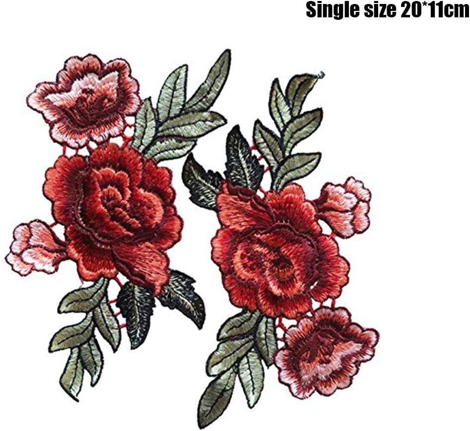 Rose Patch Embroidery 2Pcs Clothes Fix Patch Sewing Accessory Handcrafts Attachment Decorative Patch