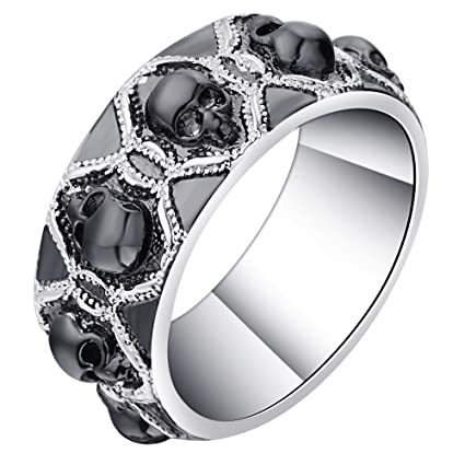 JEWH Retro Black Evil Skull Rings for Men Women - Silver Color Vintage CZ Ring -