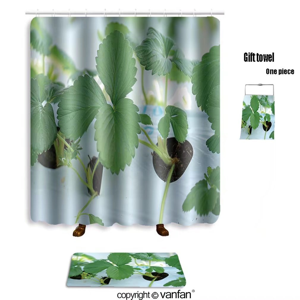 vanfan bath sets with Polyester rugs and shower curtain close up green leaf of strawberry at farm in shower curtains sets bathroom 66 x 72 inches&23.6 x 15.7 inches(Free 1 towel and 12 hooks)