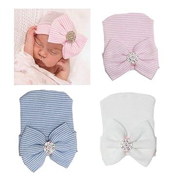d78646975fe Image Unavailable. DRESHOW BQUBO 3 Pcs Newborn Hospital Hat Infant Baby Hat  Cap with Big Bow Soft Cute
