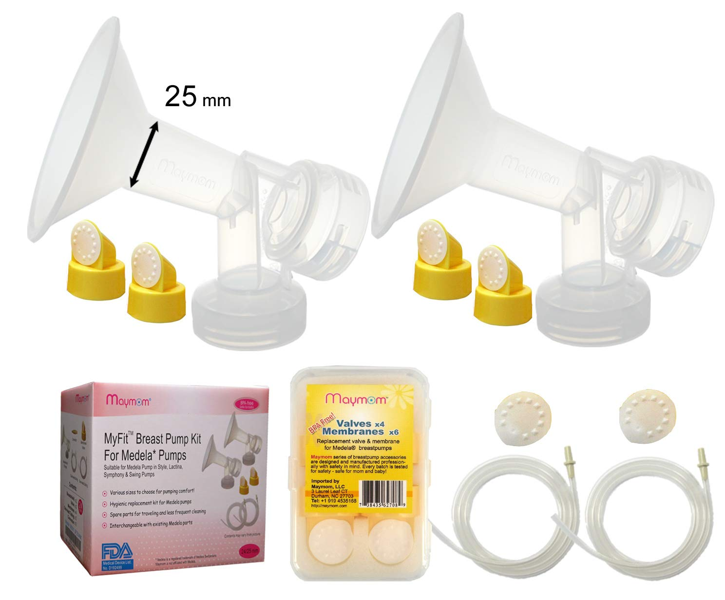 Maymom Pump Parts for Medela Pump in Style Advanced Pumps; w/Breastshields (24 mm, Can Replace Personal Fit 24 Shield and Connector), Valves, Membranes, Replacement Tubing for Pump-in-Style Advanced May-9190