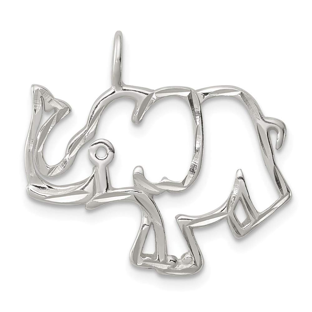 Mia Diamonds 925 Sterling Silver Solid Diamond-Cut Outline Of Elephant Pendant 25mm x 25mm