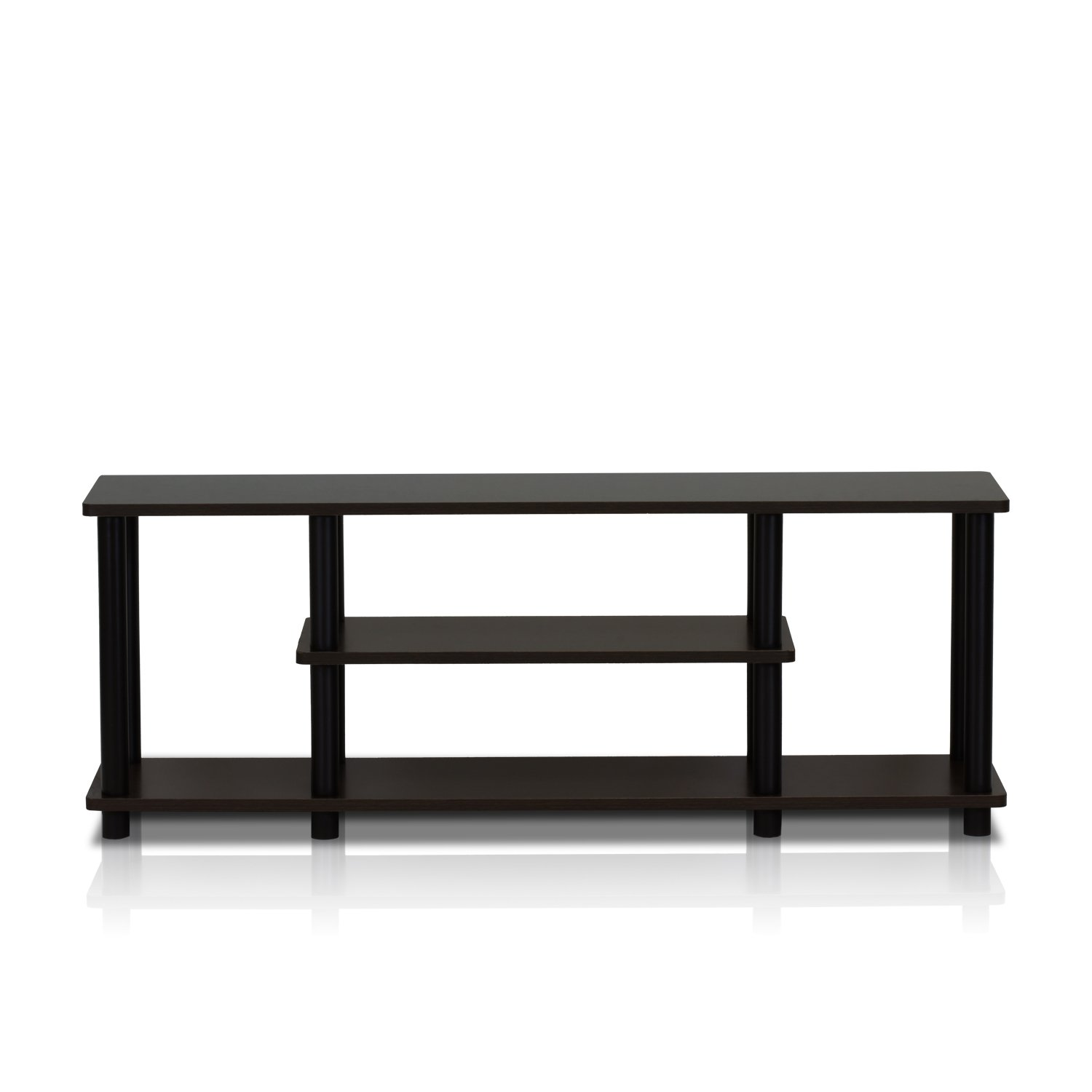 Furinno 12250R1WN/BK Turn-N-Tube No Tools 3D 3-Tier Entertainment TV Stands, Walnut