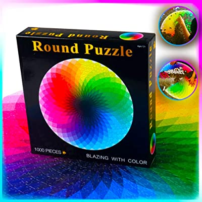 1000Pcs Colorful Puzzles, Kids Adults Game Cardboard Colorful Round Jigsaw Puzzles Rainbow Palette Intellectual Game: Toys & Games