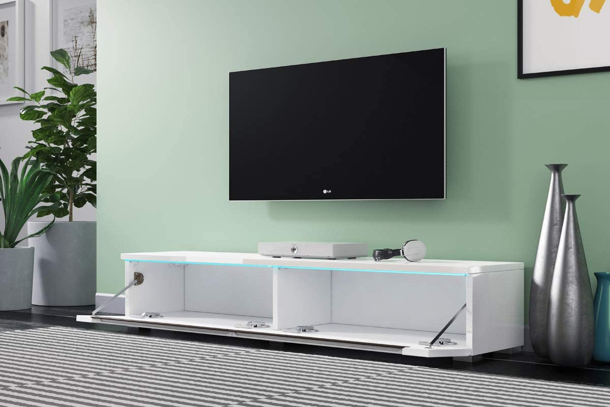 Selsey Swift Armario para Televisión Blanco Brillante con Led para Colgar O Pie 140 cm: Amazon.es: Hogar