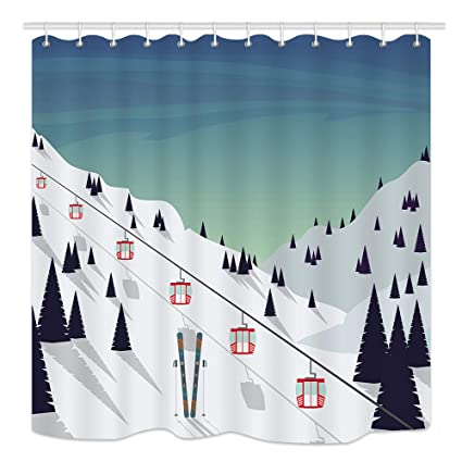 KOTOM Winter Landscape Shower Curtain Ski Covered With Snow Trees And Mountains Mildew Resistant