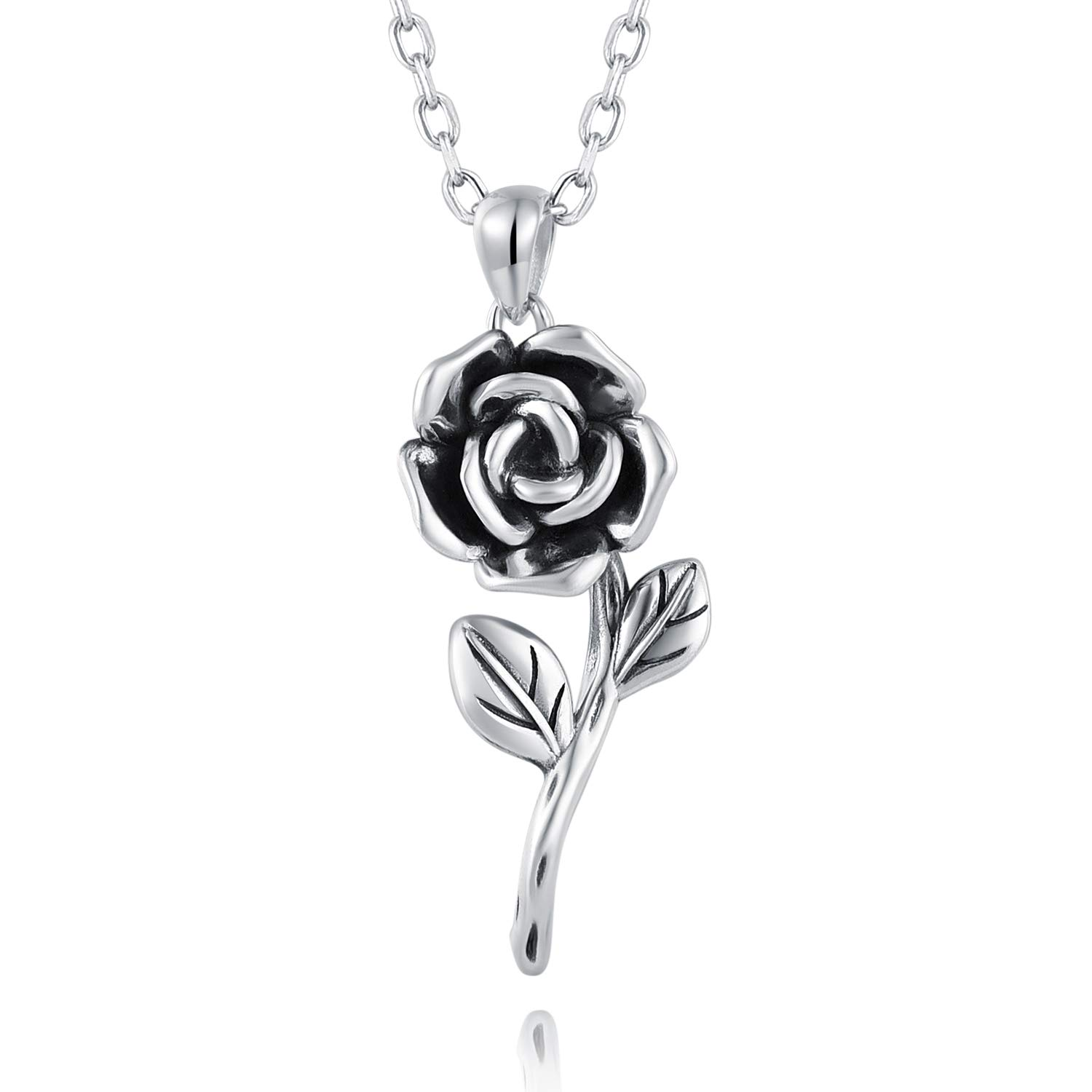 c112110dedbb5 BEILIN 925 Sterling Silver Rose Flower Necklace Jewelry Gift for Women  Girls her