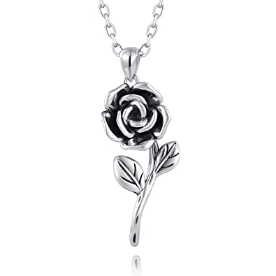 88c943a2ec1bb6 BEILIN Rose Necklace 925 Sterling Silver Rose Flower Pendant Necklace for  Girls & Women (Silver