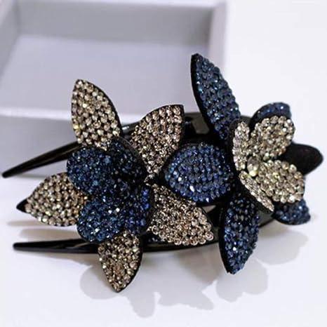 Crystal Double Flower Hair Clip Rhinestone Hairpin Hairgrip Hair Dovetail Clip