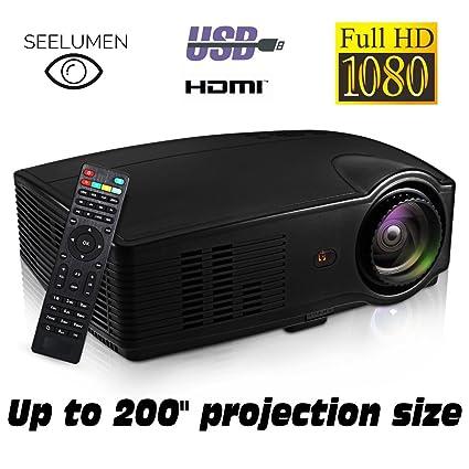 Seelumen PJW100 - Proyector) Full HD 1080P, 3200 Lúmenes, LED, LCD 1920x1080 max, 5000:1 Contraste, 2 HDMI, VGA, 2 USB, para PS4, Xbox One, Nintendo ...