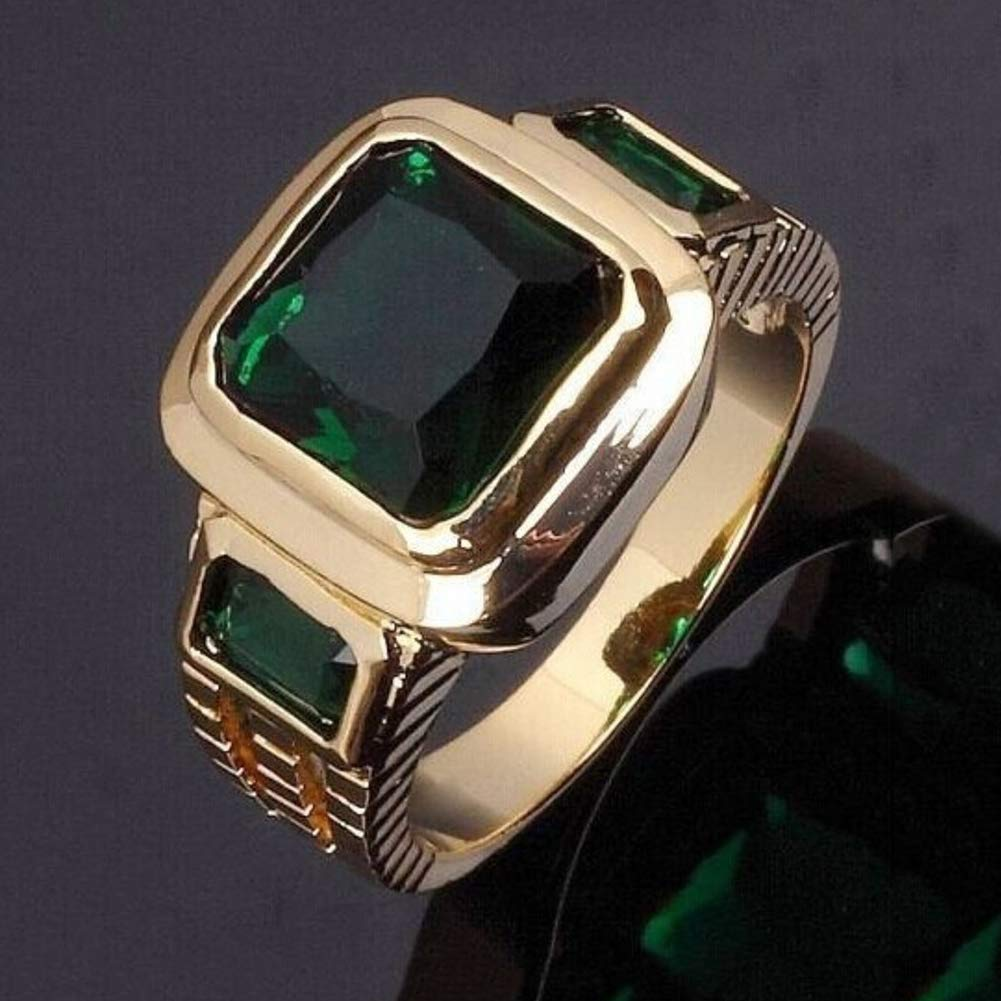 Himpokejg Men's Fashion Square Shape Faux Gemstone Wedding Birthday Band Jewelry Ring - Black US 10 by Himpokejg (Image #5)