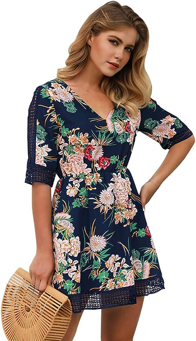 SEMIR Damen Kleider V Ausschnitt Kleid Damen Spitzenkleid 18/18 Arm Blumen  Kleider Blumendruck Sommerkleider Strandkleider