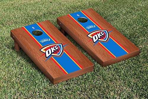 Oklahoma City Thunder NBA Basketball Cornhole Game Set Rosewood Stained Stripe Version by Victory Tailgate