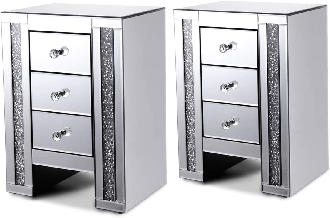 JAXPETY Sparkly Mirrored Crushed Crystal 3 Drawer Nightstand Bedside Table Cabinet,Set of 2