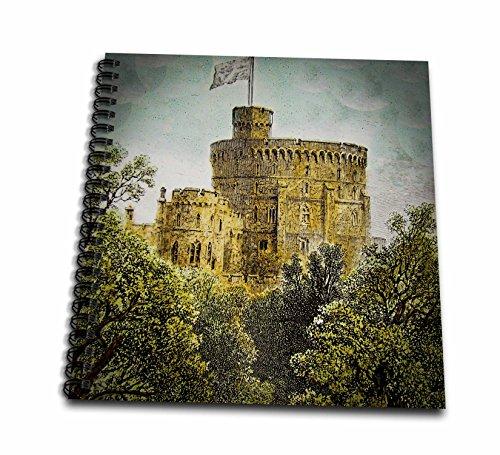 3D Rose Vintage Windsor Castle Round Tower 1880 British Royalty England Drawing Book