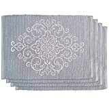 HomeCrate Luxurious French Perle Charmed Scroll Ribbon Printed 100% Cotton 13x19 Placemats set of 4, Grey Lenox