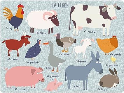 Set de table avec animaux de ferme Petit Jour Paris