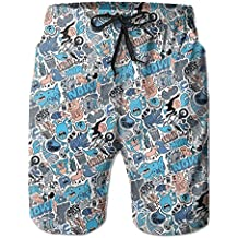 QWETR All The Animals in The World Baseball Floral Classical Printed Beach Swim Shorts
