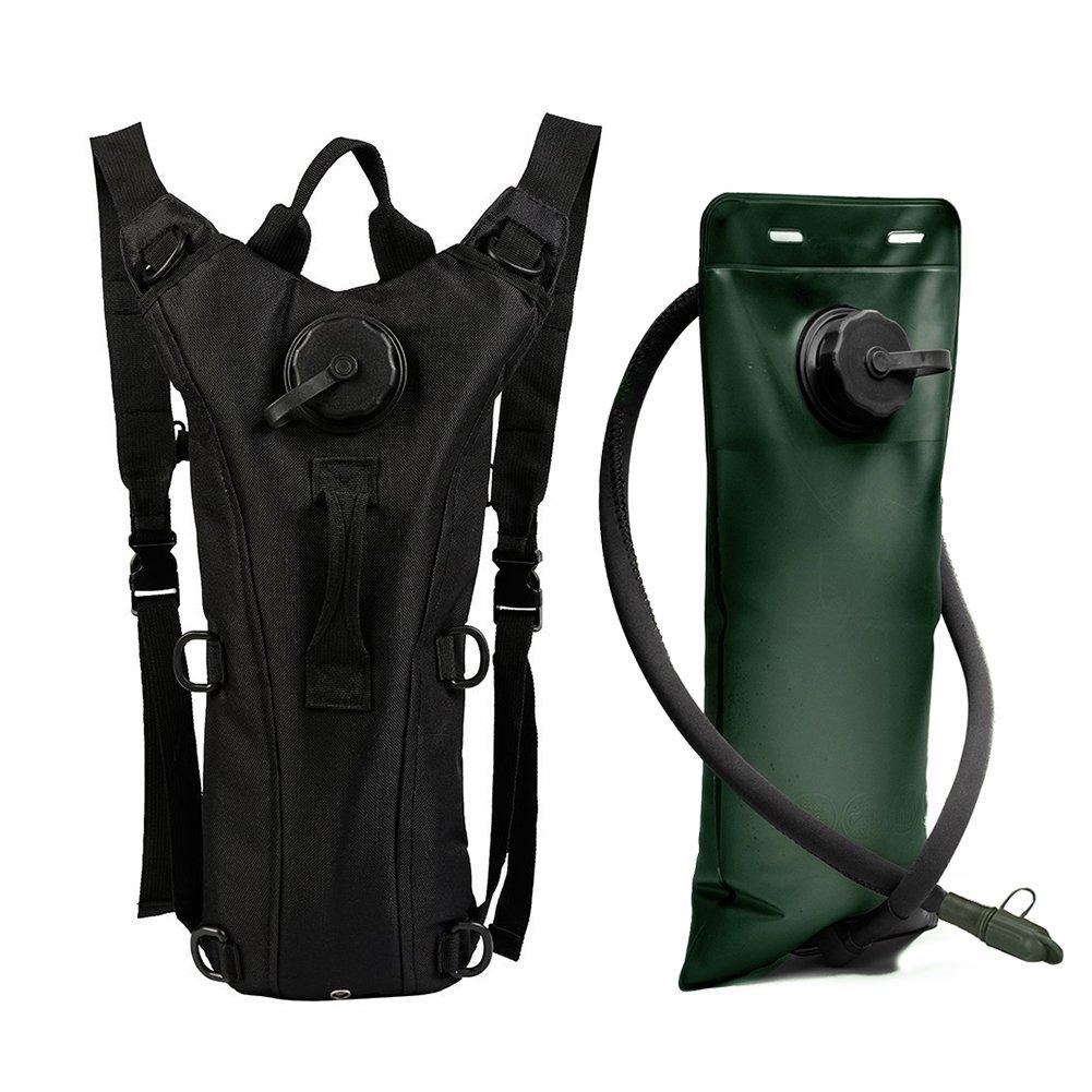 ZOORON ajustable portátil duradero 3L Sistema de hidratación bolsa de agua mochila mochila Camelbak bolsa de vejiga para caza supervivencia Senderismo Escalada Ciclismo Running, negro