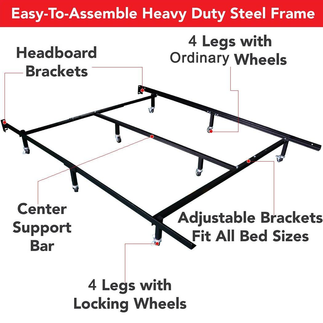 Amazon.com: Smart 8-Wheel Metal Bed Frame, 3 Adjustable Sizes (Queen ...