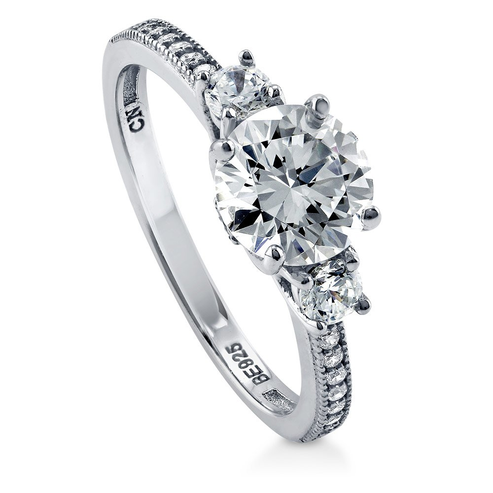BERRICLE Rhodium Plated Sterling Silver Cubic Zirconia CZ 3-Stone Promise Engagement Ring Size 4.5
