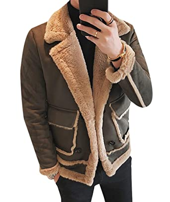 10d47ccdad342 Fensajomon Mens Winter Thick Lapel Faux Fur Lined Suede Jackets Coats  Outwear at Amazon Men s Clothing store