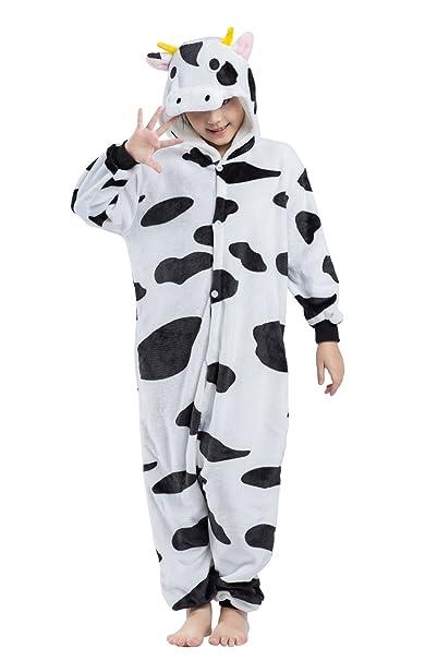 Wamvp Niños Animal Pijamas Ropa De Dormir Kigurumi Pyjamas Trajes Cosplay - Vaca