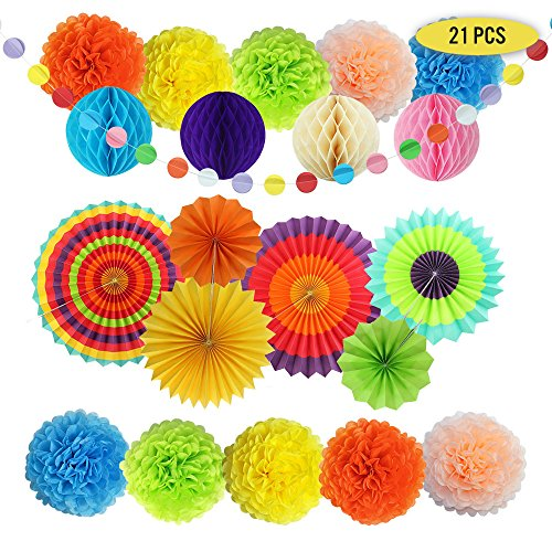 Colorful Party Decorations, Set of 21 Hanging Paper Fans, Pom Poms, Honeycomb balls and Rainbow Garland for Birthdays, Kids Party, Mexican Fiesta, Wedding, Baby Shower, Carnivals by Party Prepper
