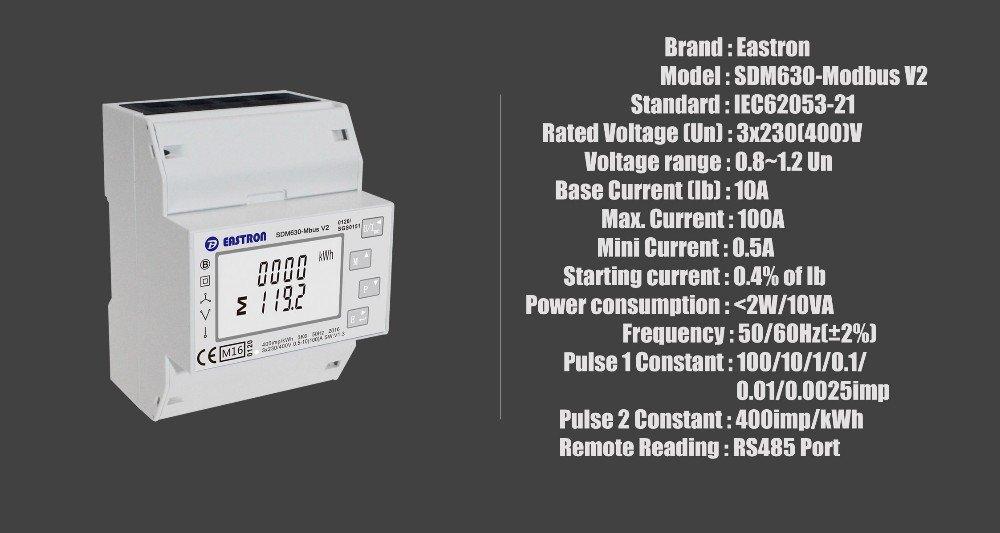 SDM630 Modbus V2, multi-function power analyser, 1p2w 3p3w