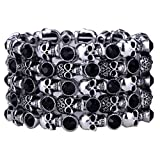 Best Bracelets With Skulls - Angel Jewelry Women's Crystal Skull Stretch Cuff Bracelet Review