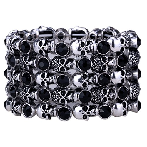 Yacq Jewelry Goth Skull Skeleton Hand Stacket Crystal Stretch Sleeve Cuff Bracelet Gifts for Women (Jewelry Skeleton)