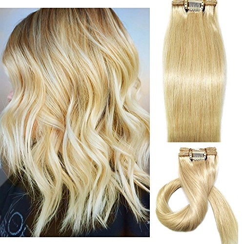 Myfashionhair Clip in Hair Extensions Real Human Hair Blonde 15 inches 70g Clip on for Fine Hair Full Head 7 pieces Silky Straight Weft Remy Hair (15 inches, #613)