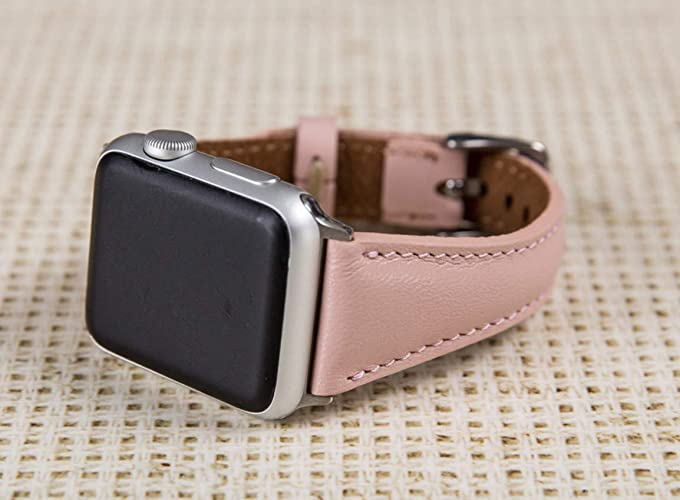 64da41ab7 Pink Apple Watch Band for Women, 38mm, 40mm, 42mm, 44mm, Brown iWatch Leather  Band, Thin Feminine Aplle Watch Band, Genuine Leather Personalization ...