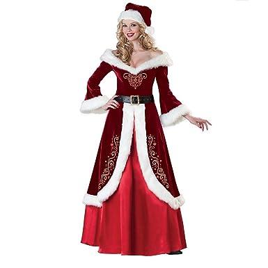 c80ebcd9a1c Fanessy Femme Robe de Noël Déguisement Médivale Longue Rouge Robe à Manche  Longue en Laine avec