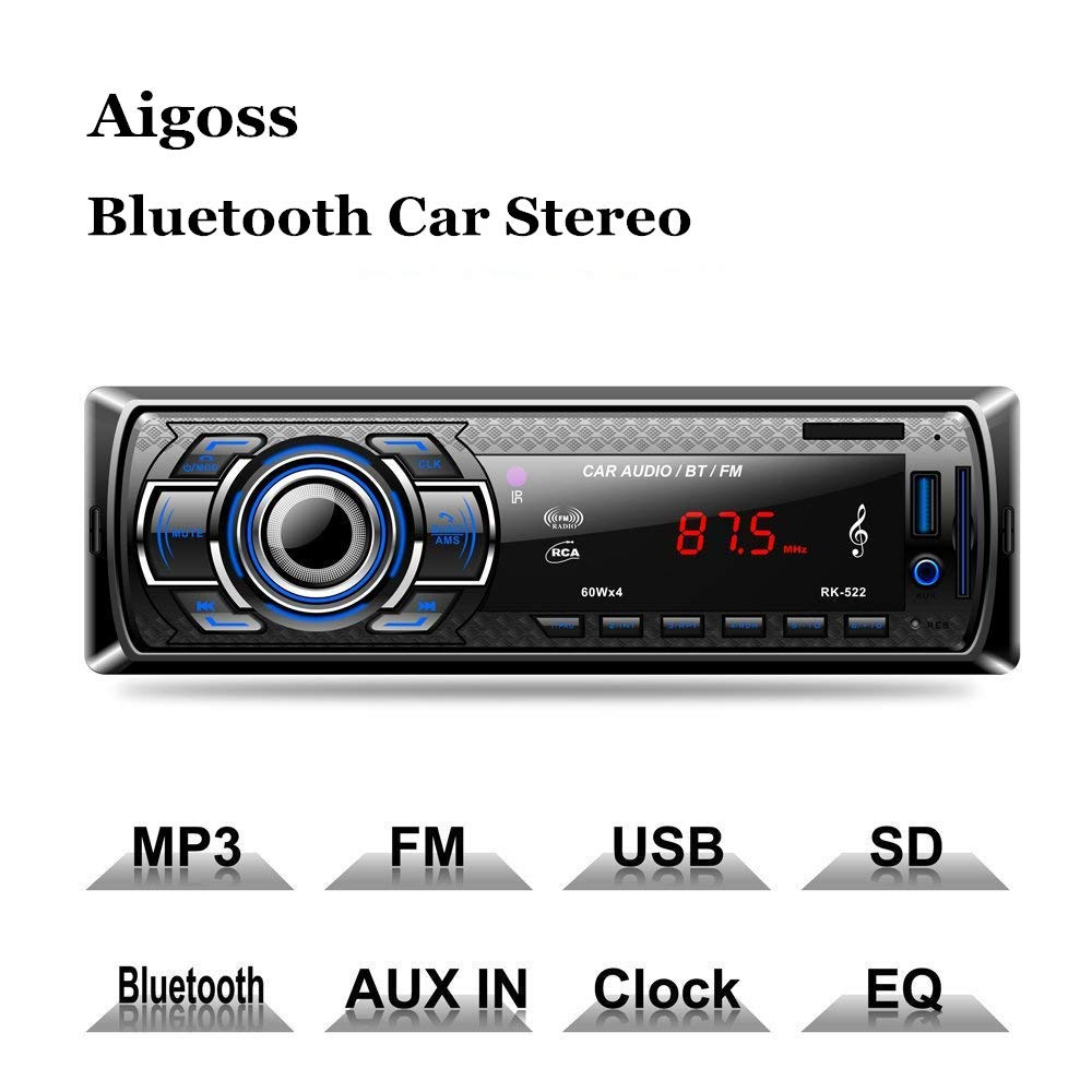 Aigoss Bluetooth Car Stereo, 4x60W Digital Media Receiver with Remote Control, Car Speakerphone Hand-Free Call, Support USB/SD/Audio Receiver/MP3 Player/FM