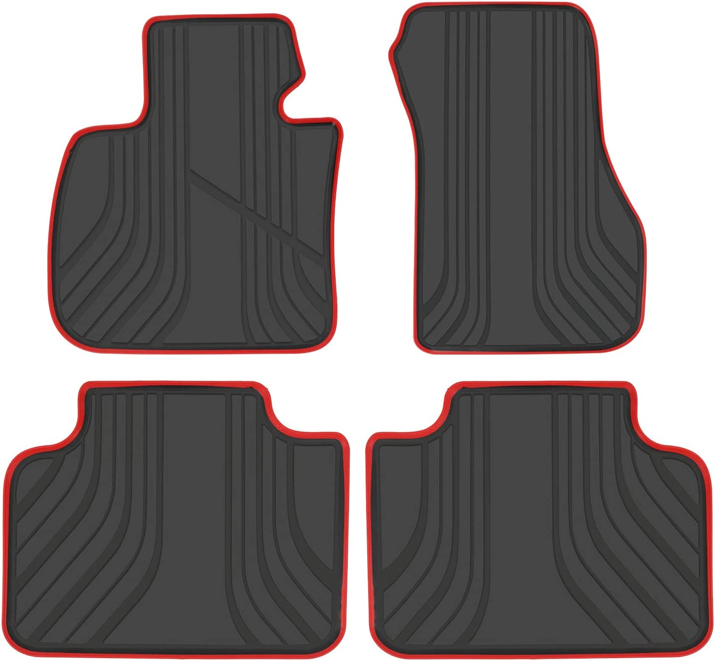 2015-2019 2AT F48 F45 F39 Custom Fit Full Black Rubber All Weather Heavy Duty /& Odorless 2018-2019 X2 San Auto Car Floor Mat for BMW X1 2015-2019