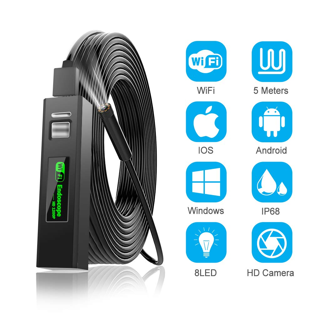 EFUTONPRO Wireless Endoscope, WiFi Borescope Inspection Camera, 2.0 Megapixels 1200P IP68 Waterproof 8 LED Lights Snake Camera for Apple iOS Android iPhone Windows, 10M/32.8FT