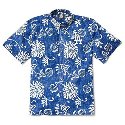 (Reyn Spooner Men's Los Angeles Dodgers MLB Classic Fit Hawaiian Shirt, Nane'a-Blue, S)