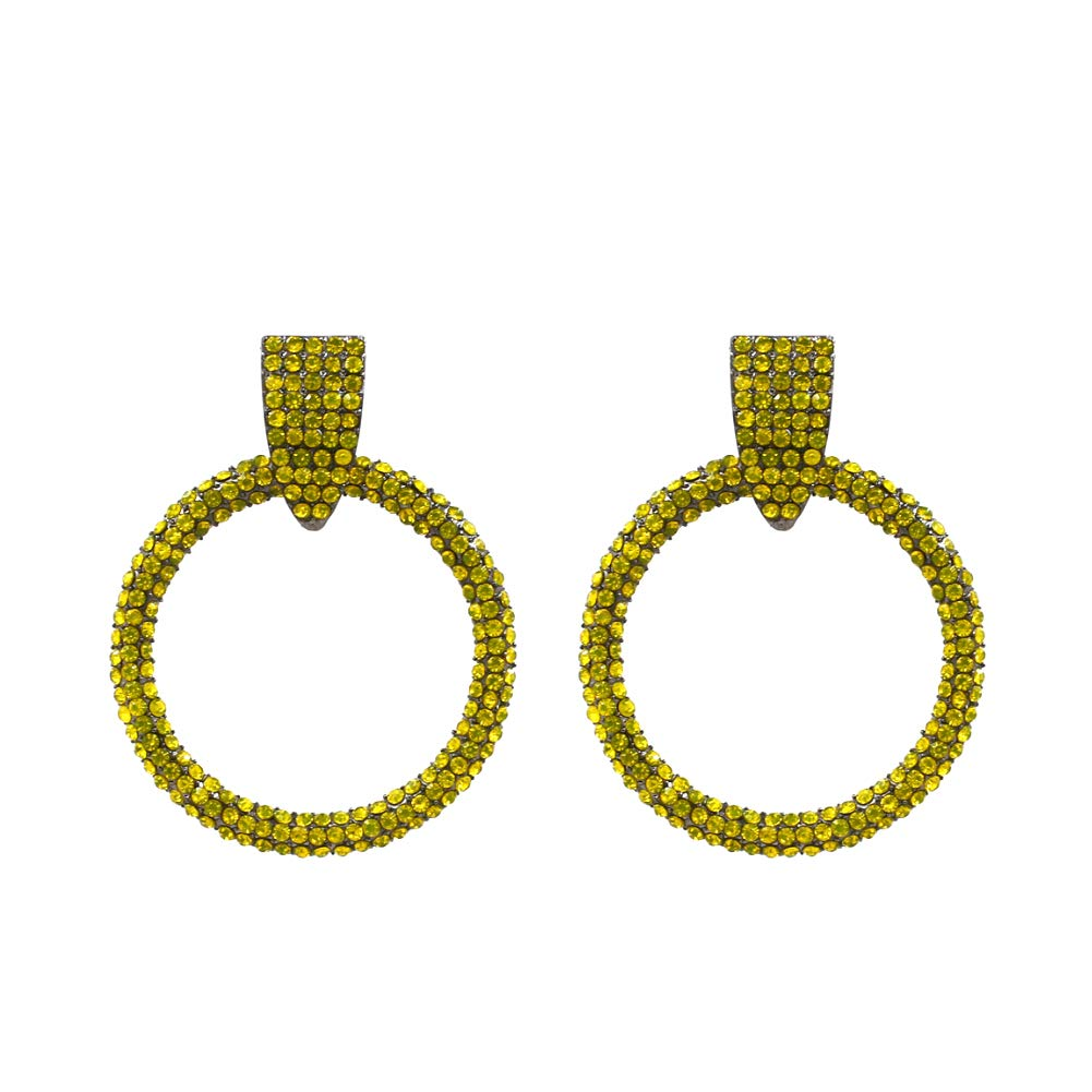 Colorful Gemmed Hoops Drop Statement Earrings Fashion Jewelry KELMALL COLLECTION