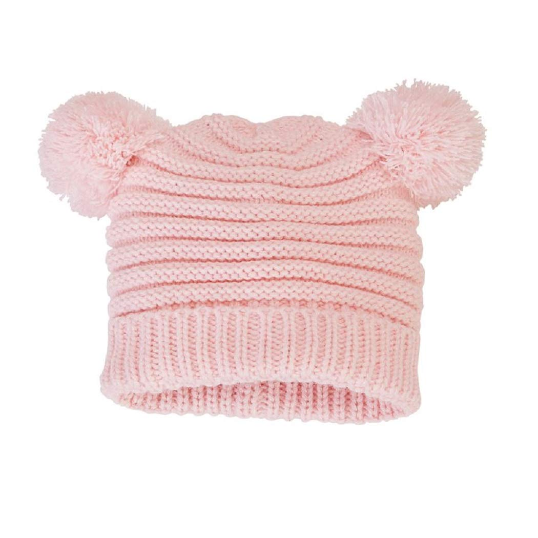 8e2e2732cb6084 Amazon.com: Mud Pie Pink Pom-Pom Knit Hat, Pink, 6-18 Months (Infant):  Clothing